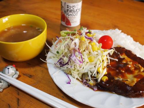 昼食☆コンビニレトルチーズハンバーグ&サラダ&ライス
