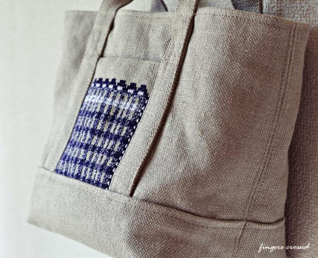 8号リネン帆布のトートバッグ1