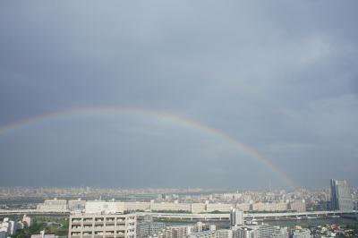 南千住から見えた虹とスカイツリー