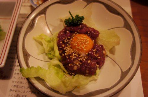 桜なべのコース=タルタルステーキ