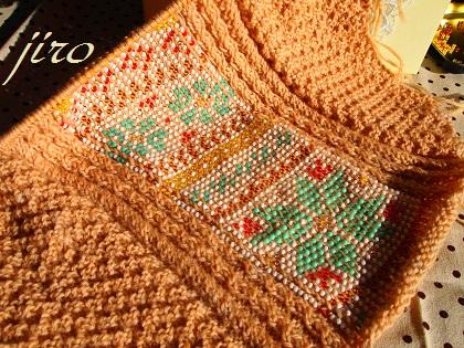 ビーズ編みバッグ-棒針グラニー.6
