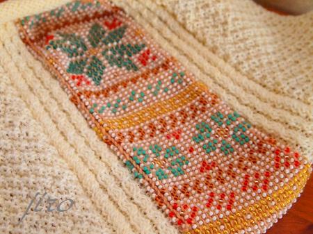 ビーズ編みバッグ-棒針…ツートングラニー.2