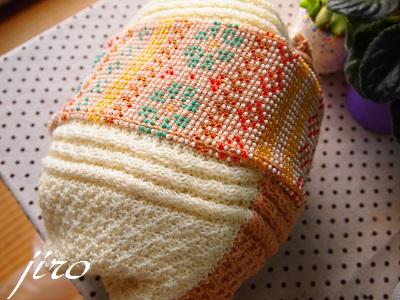 ビーズ編みバッグ-棒針…ツートングラニー.12