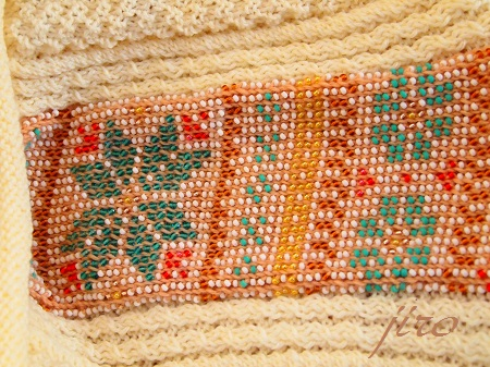 ビーズ編みバッグ-棒針…ツートングラニー