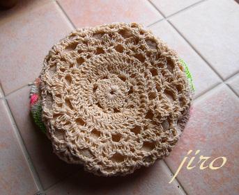 ビーズ編みバッグ‐輪針…ラトビアミトン模様巾着8