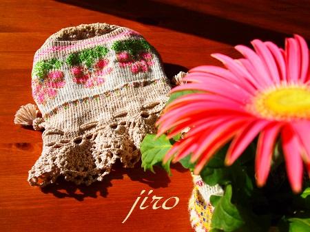 ビーズ編みバッグ-ラトビアミトン模様の巾着