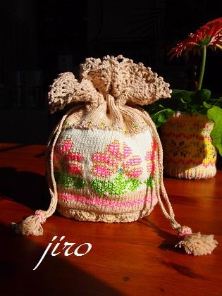 ビーズ編みバッグ-ラトビアミトン模様の巾着11