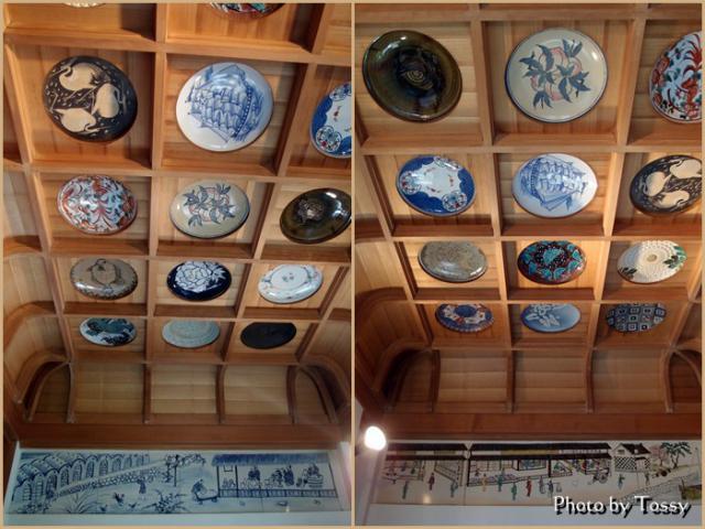 火防陶器神社の天井の絵皿