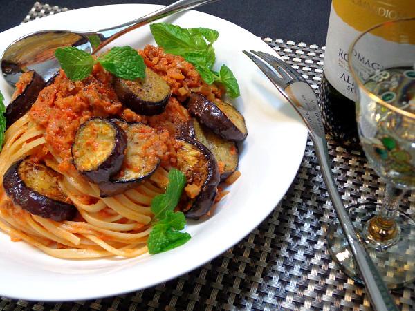 茄子と挽肉のトマトクリームパスタ15