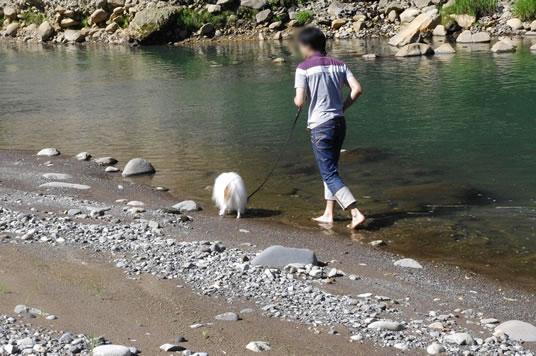 パパと川遊び