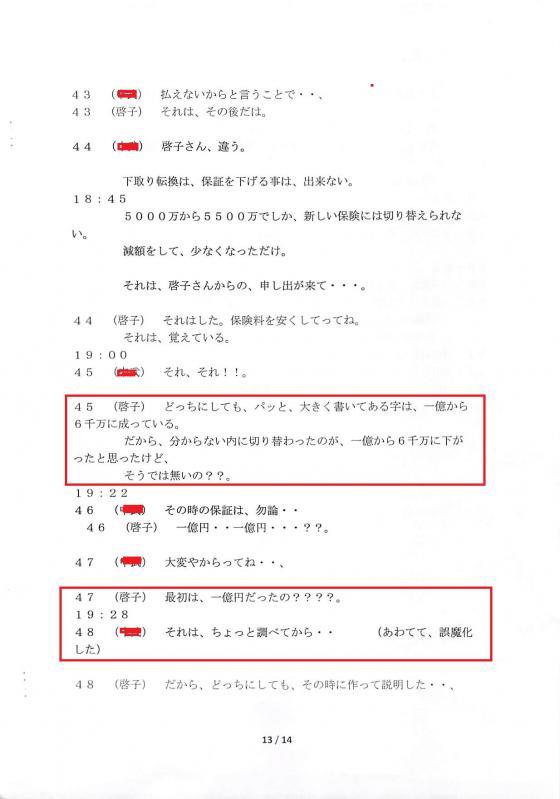 甲第28号証の1(7月1日の会話)13頁