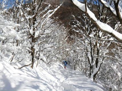雪のトンネルを