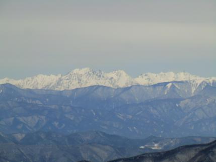 穂高連峰,右端が槍ヶ岳