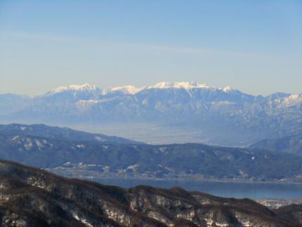 諏訪湖と中央アルプス