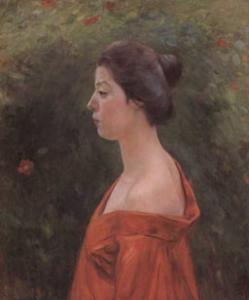 黒田清輝筆「赤き衣を着たる女」