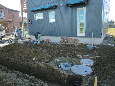 外部給排水接続埋設工事