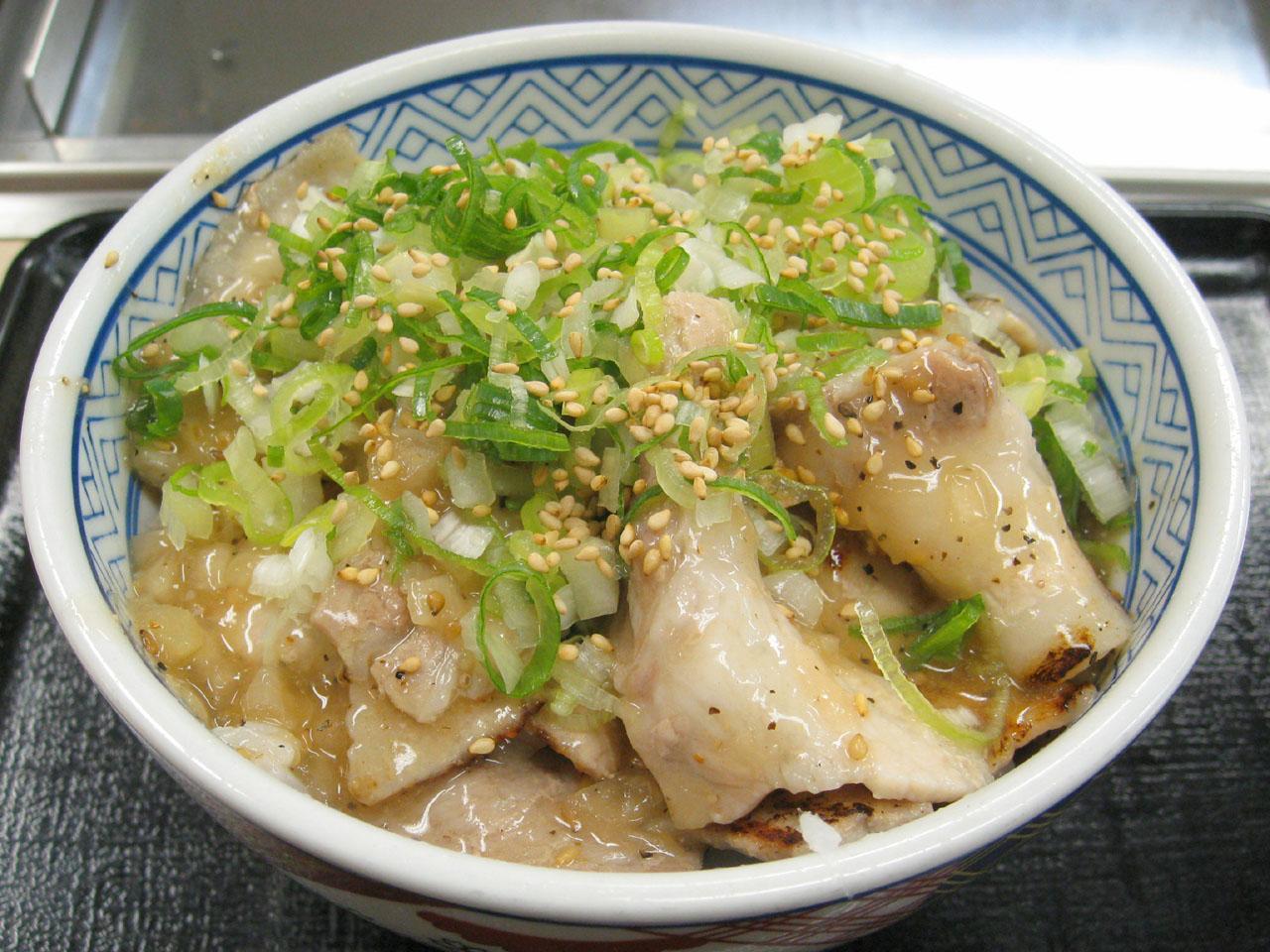 吉野家「焼味 ねぎ塩豚丼」を食す , スマフォ版 お気楽グルメ