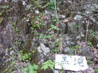 登山道に張り出した玄武岩 柱状節理 黒滝