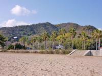 帰路コースはR47水島海岸線 瀬戸内海絶景を眺める、沙美の海水浴場に休憩
