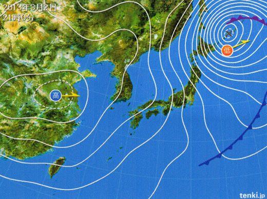 2月末からの大荒れ警報・注意報の天気図