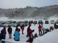 雪山に向けて準備をする。