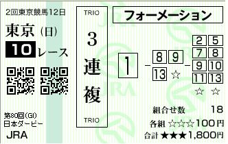 馬券(ダービー80TH)