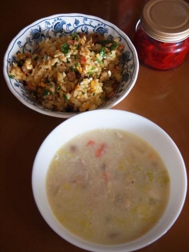 鶏ガラスープのリメイクスープ