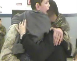 6-Year-Old Boy Walks to His U.S. Marine Father for the First Time