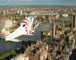 The Queen arrives Via parachute