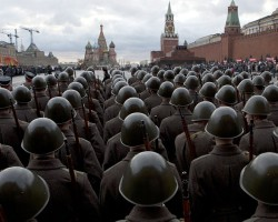 Russian soldiers don historic uniforms and march through the Red Square to mark 1941 parade of soldiers on their way to fight the Nazis