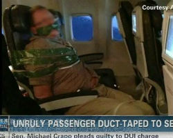 Unruly passenger duct-taped to seat after allegedly becoming Drunk