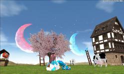 月が二つある農場風景