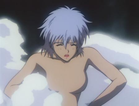 ガンダム第08MS小隊 アイナの胸裸温泉入浴シーン1