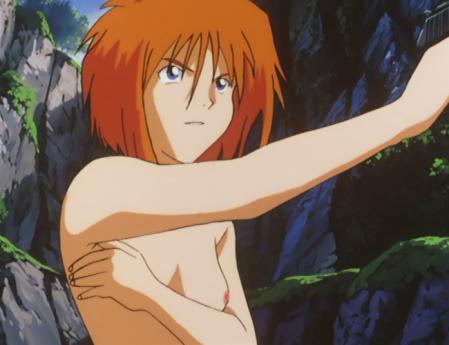 ガンダム第08MS小隊 キキ・ロジータの胸裸水浴びシーン1