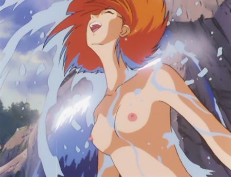 ガンダム第08MS小隊 キキ・ロジータの胸裸水浴びシーン5