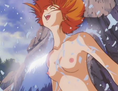 ガンダム第08MS小隊 キキ・ロジータの胸裸水浴びシーン6