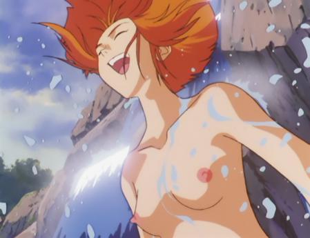 ガンダム第08MS小隊 キキ・ロジータの胸裸水浴びシーン7