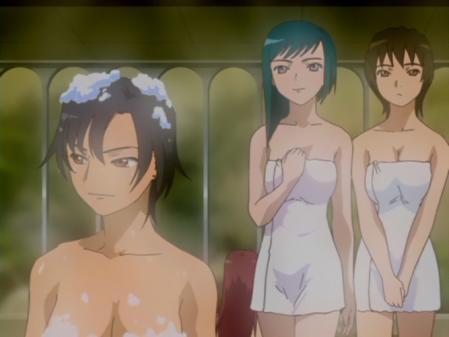 舞-乙HiME4話の入浴シーン チエ・ハラードの胸裸とトモエ・マルグリットのバスタオル姿5