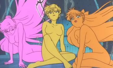 せつな(左)、はるか(中)、美奈子(右)/SuperS の変身解除 全裸