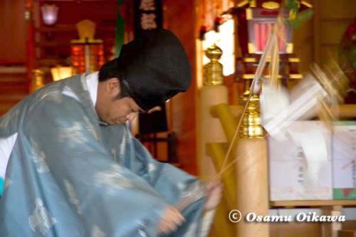 鹿部稲荷神社宵宮祭 2012 松前神楽 福田舞