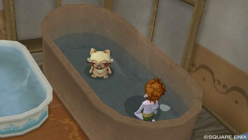 テンドン君とジャッキーお風呂で語る