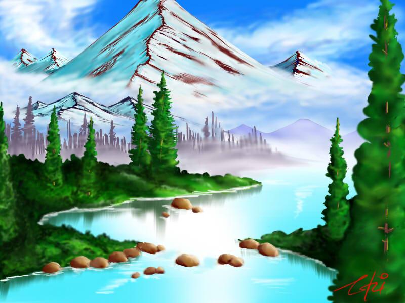 0005ボブ・ロス「神々しい山」