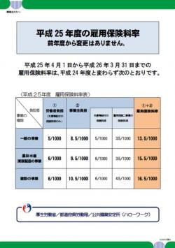 20121221平成25年度雇用保険料率