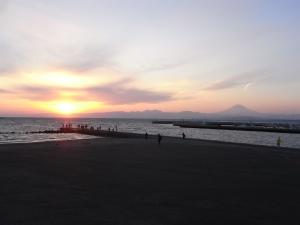 14-0112江ノ島夕日1