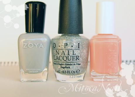 Zoya#ZP541 Dove(ドーヴ)/OPI#T55 Pirouette My Whistle(ピルエット・マイ・ホイッスル)/essie#641 True Love(トゥルーラブ)