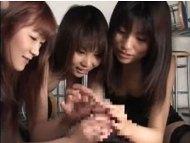 【手コキ】ボディコンお姉さん達に囲まれた四面楚歌のМ男