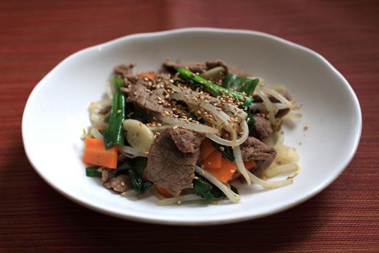 牛肉と野菜のプルコギ風炒め