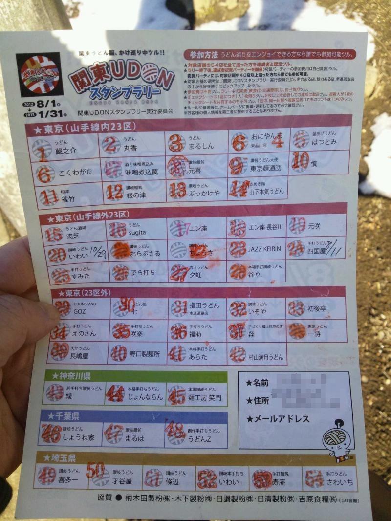 関東UDONスタンプラリー台紙