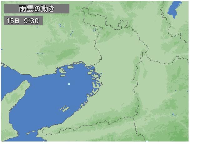 午前9時時点の雨雲の動き