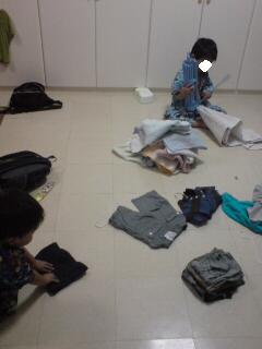 洗濯たたむ